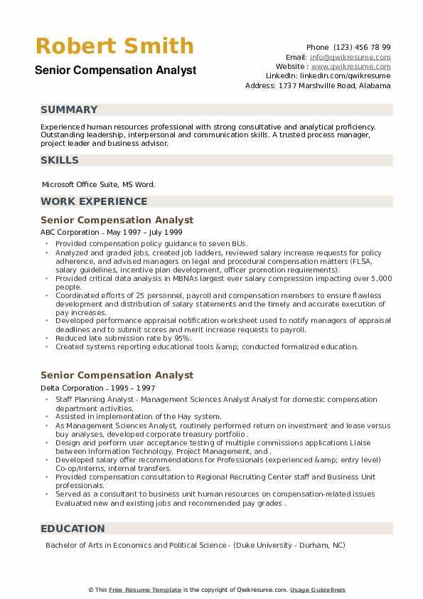 Senior Compensation Analyst Resume example