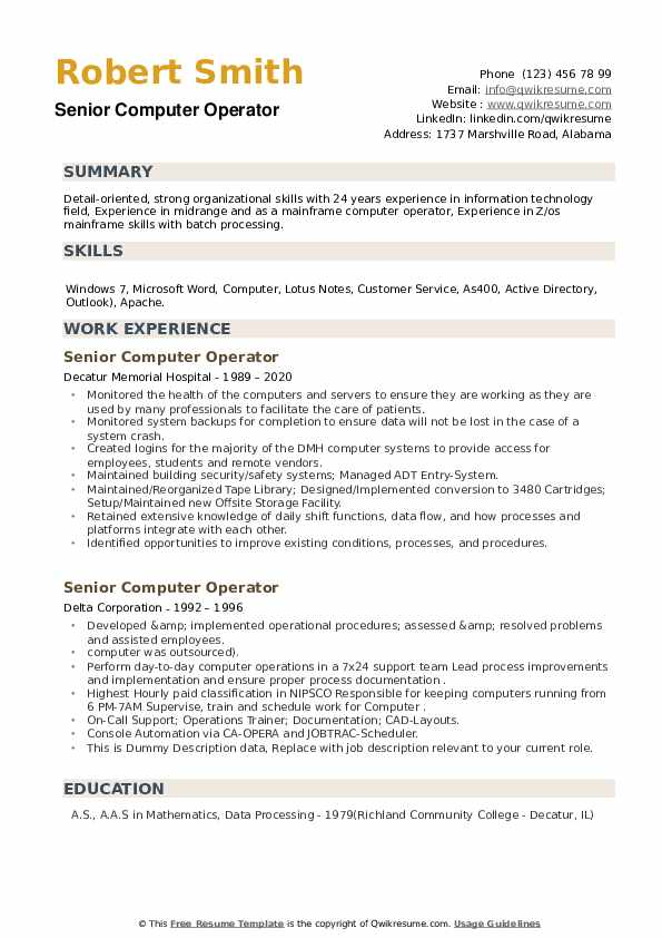Senior Computer Operator Resume example