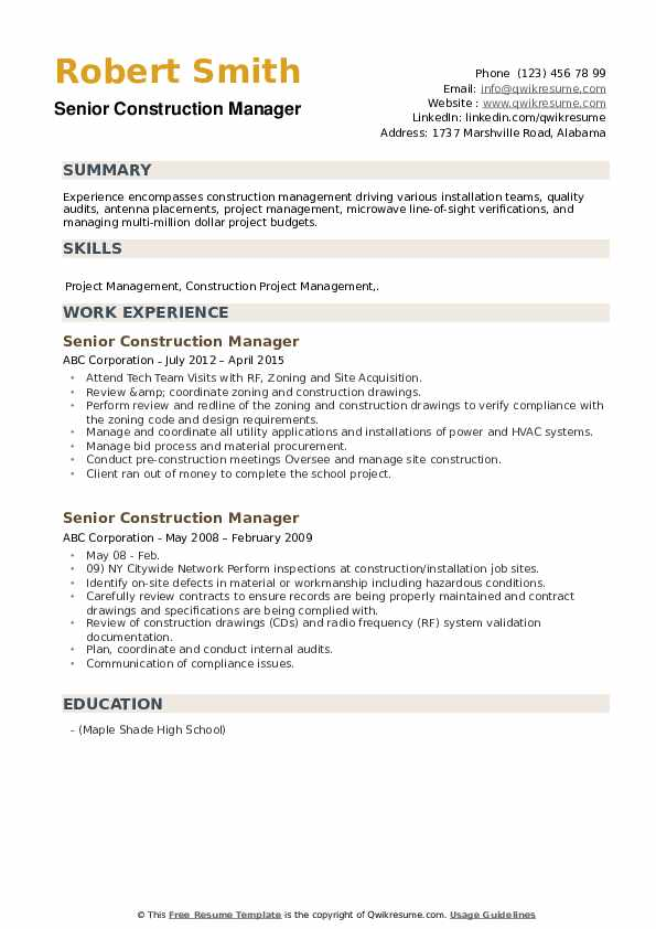Senior Construction Manager Resume example