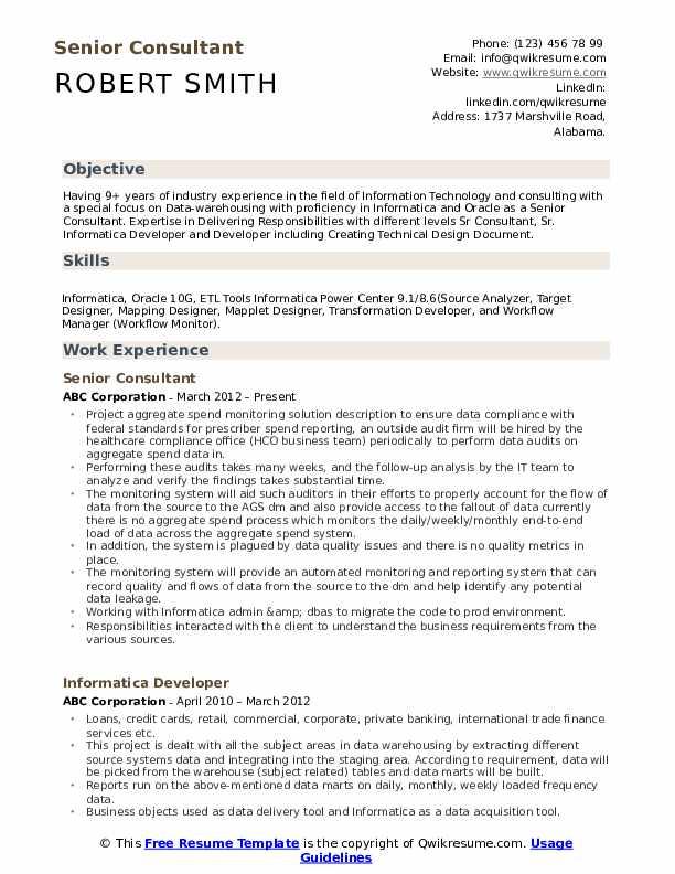 Senior Consultant Resume Samples Qwikresume