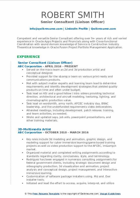 senior consultant resume samples