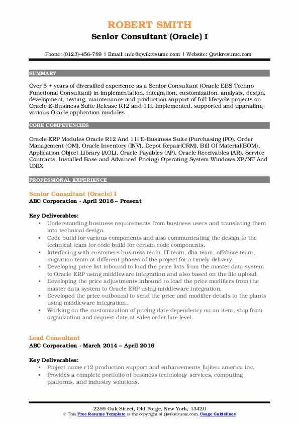 Senior Consultant Resume Samples | QwikResume