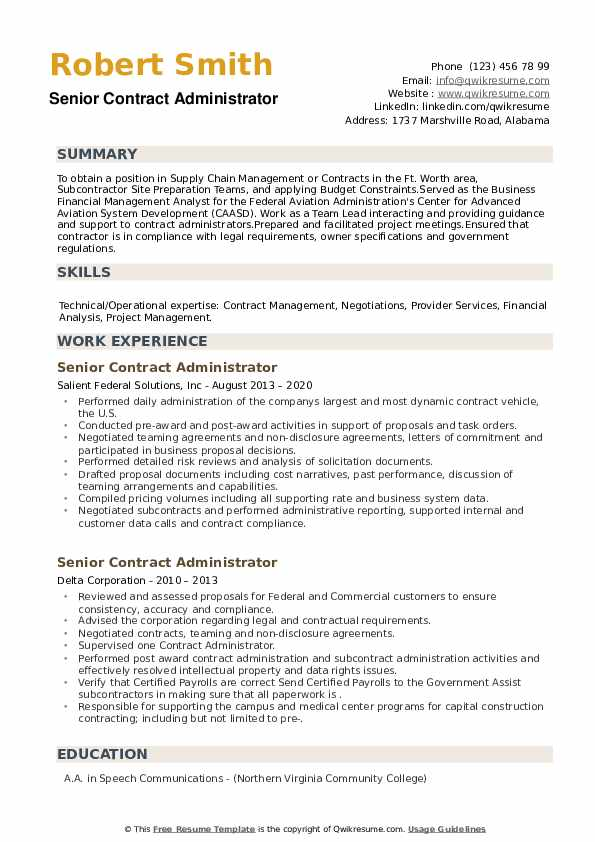 Senior Contract Administrator Resume example