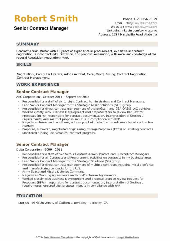 Senior Contract Manager Resume example
