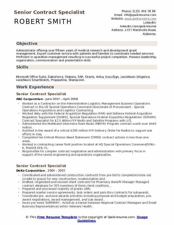 senior contract specialist resume samples  qwikresume