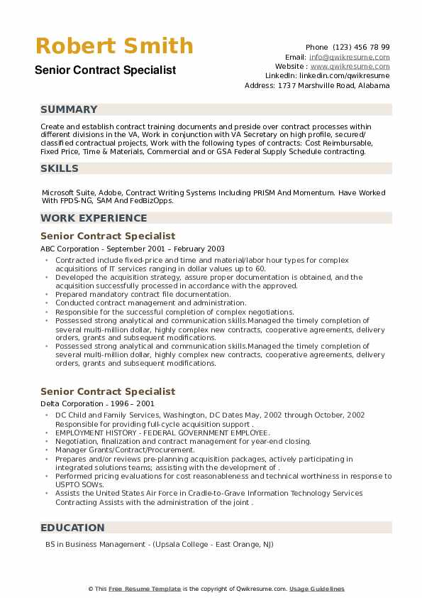 Senior Contract Specialist Resume example