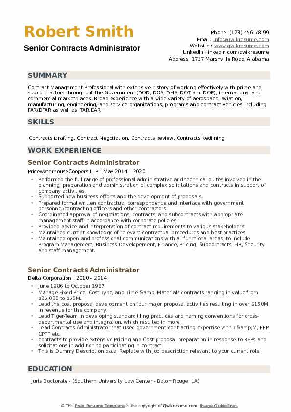 Senior Contracts Administrator Resume example