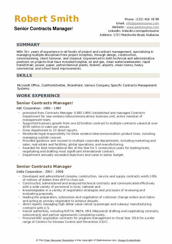 Senior Contracts Manager Resume example