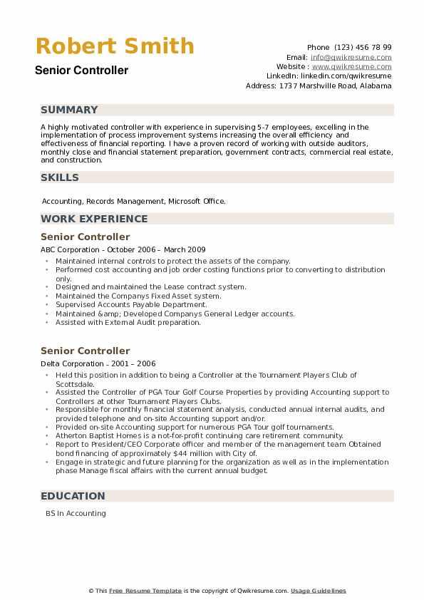 Senior Controller Resume example