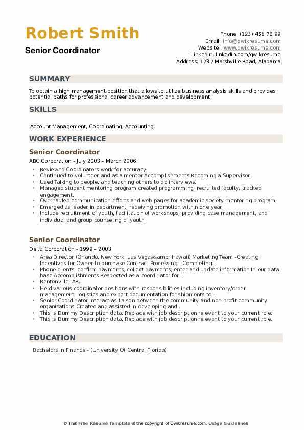 Senior Coordinator Resume example