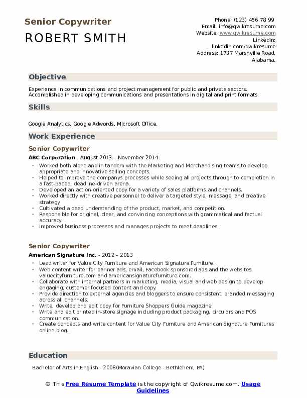 Senior Copywriter Resume Samples Qwikresume