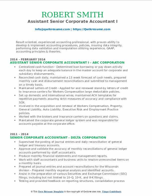 senior corporate accountant resume samples  qwikresume