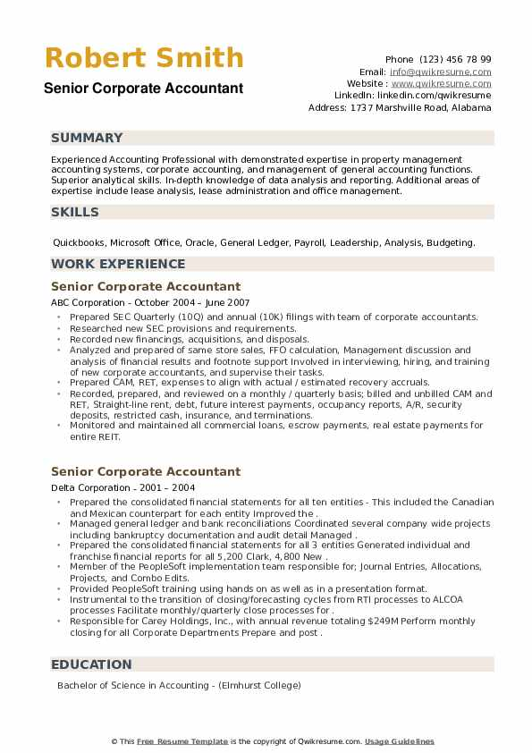 Senior Corporate Accountant Resume example