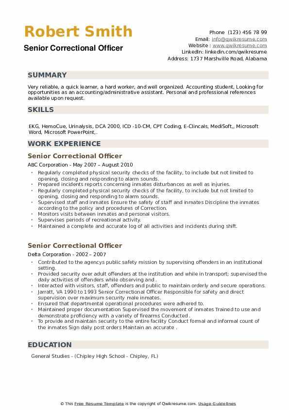 Senior Correctional Officer Resume example