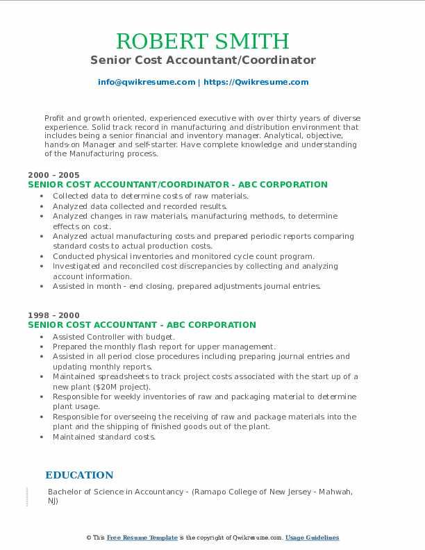 senior cost accountant resume samples  qwikresume