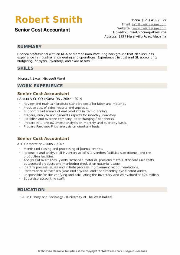 Senior Cost Accountant Resume example