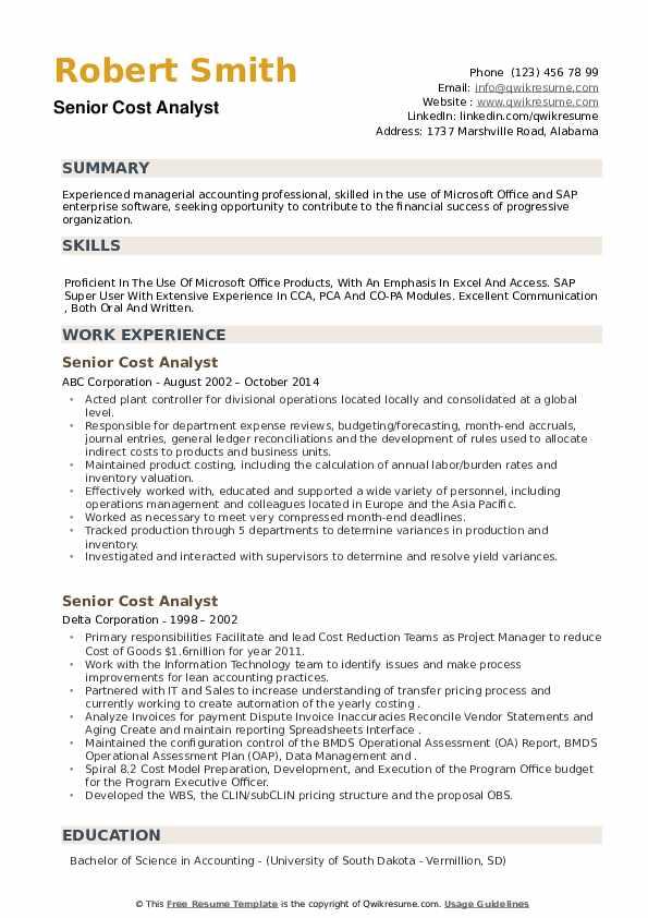 Senior Cost Analyst Resume example