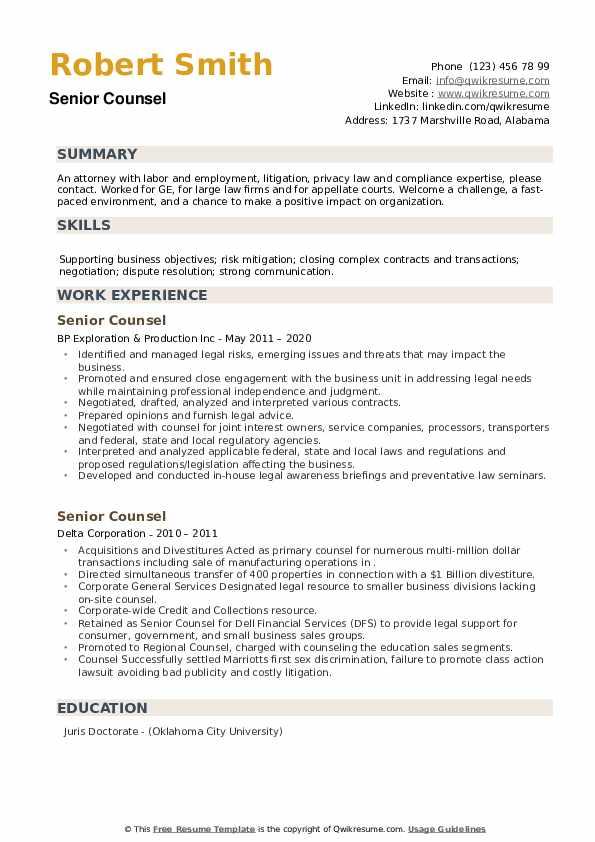 Senior Counsel Resume example