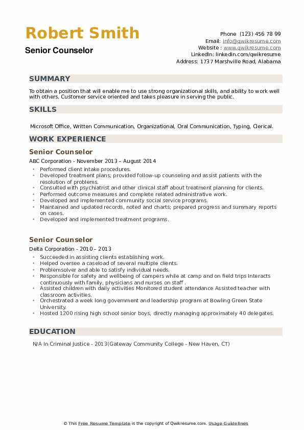 Senior Counselor Resume example