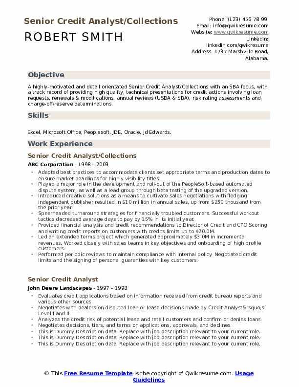 Senior Credit Analyst Resume Samples Qwikresume