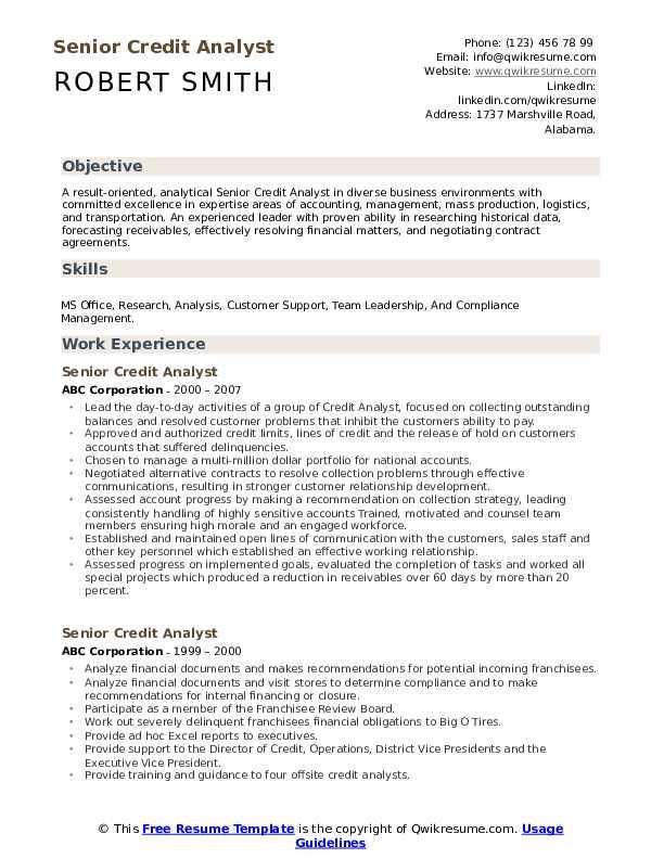 Senior Credit Analyst Resume example