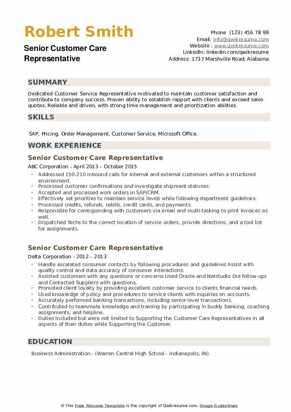 Senior Customer Care Representative Resume example