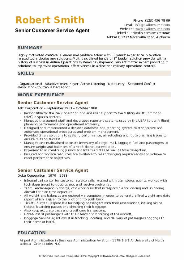 Senior Customer Service Agent Resume example