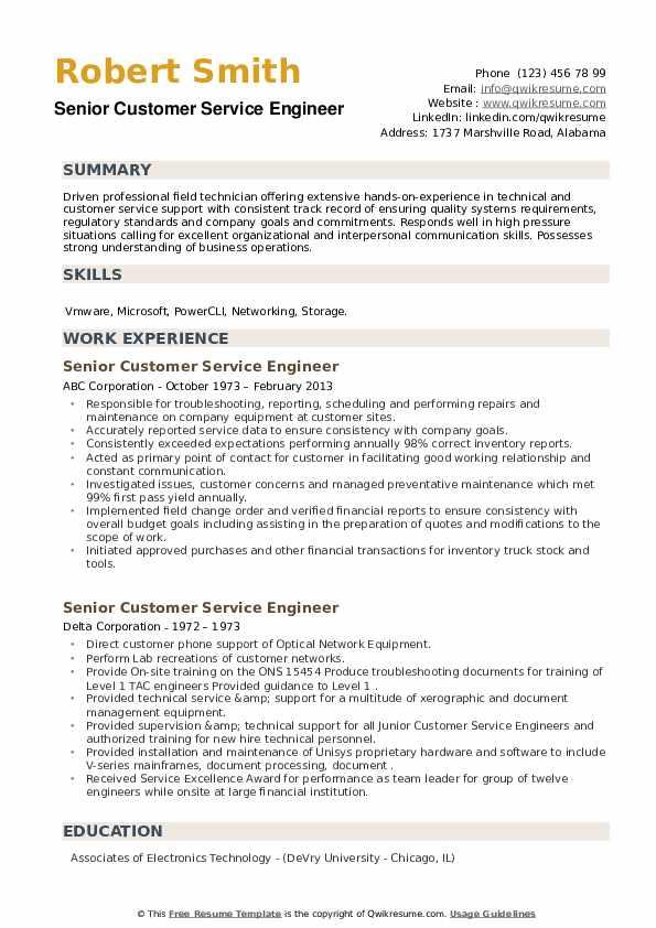 Senior Customer Service Engineer Resume example