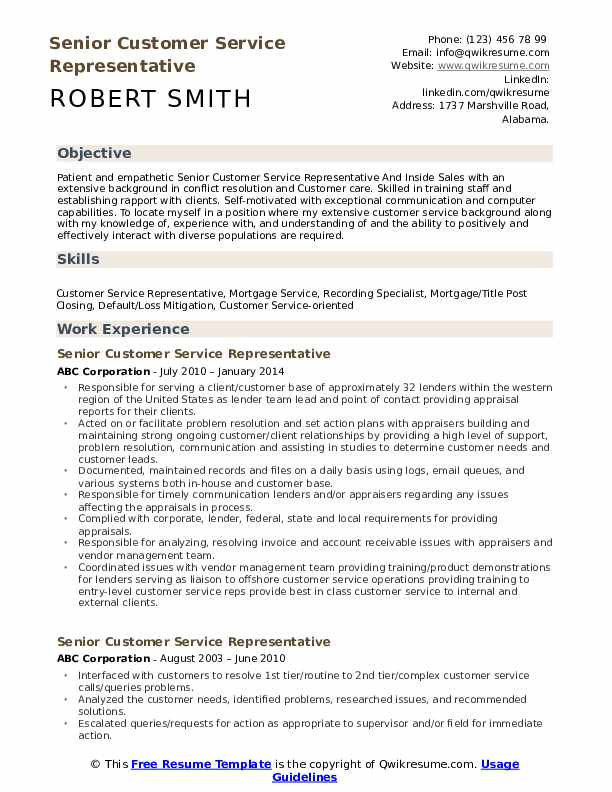 Senior Customer Service Representative  Resume Format