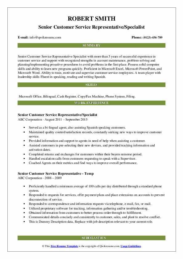 Senior Customer Service Representative/Specialist Resume Format