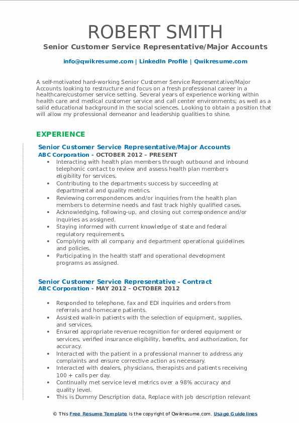 Senior Customer Service Representative/Major Accounts Resume Example
