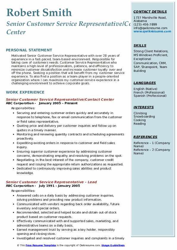 Senior Customer Service Representative/Contact Center Resume Format