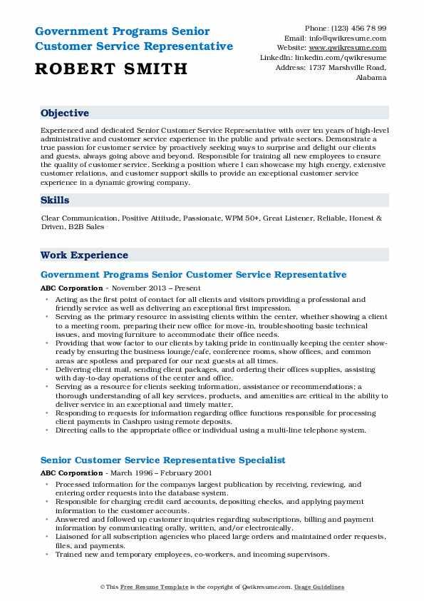 Government Programs Senior Customer Service Representative Resume Format