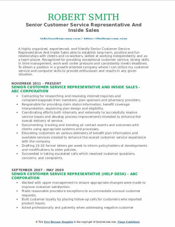 Senior Customer Service Representative And Inside Sales Resume Sample