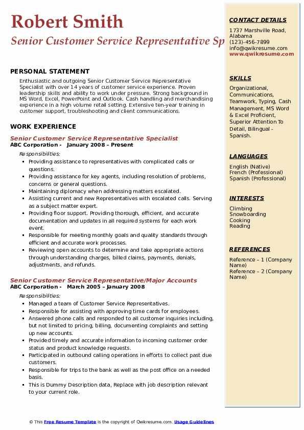 Senior Customer Service Representative Specialist Resume Model