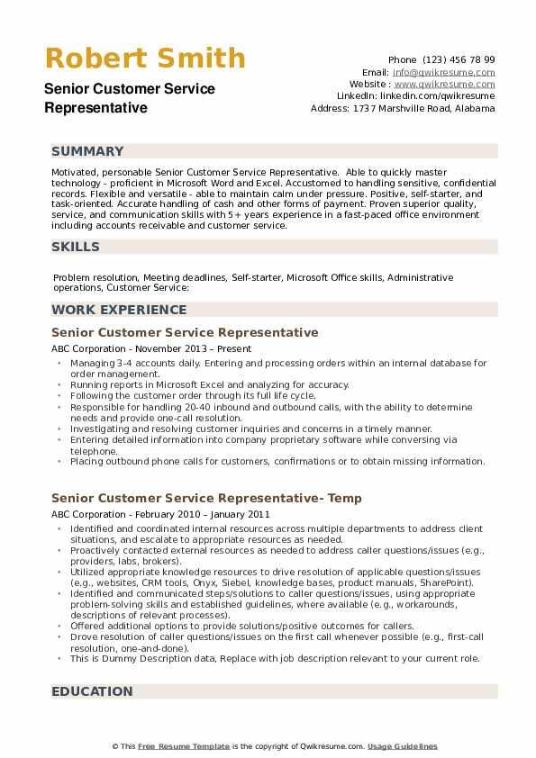 Senior Customer Service Representative Resume example