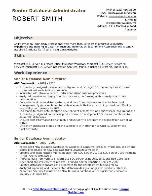 Senior Database Administrator Resume Example