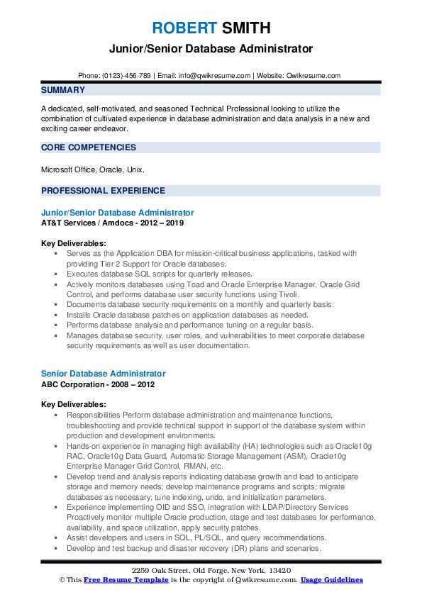 Junior/Senior Database Administrator Resume Template