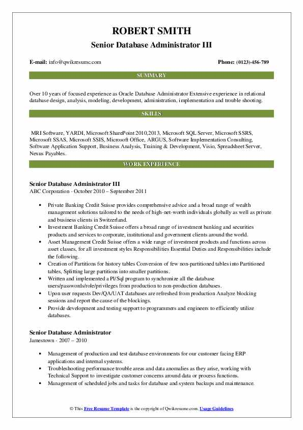 Senior Database Administrator III Resume Format