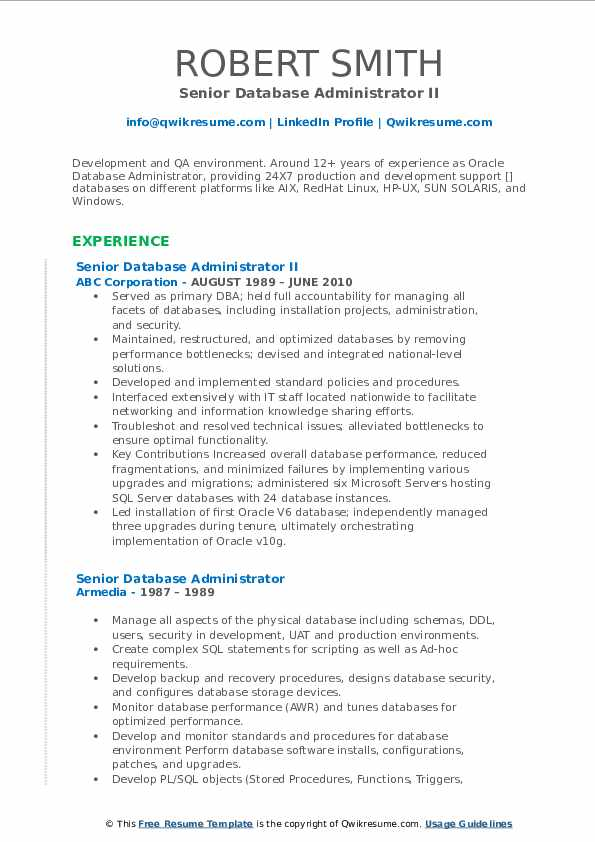 Senior Database Administrator II Resume Format