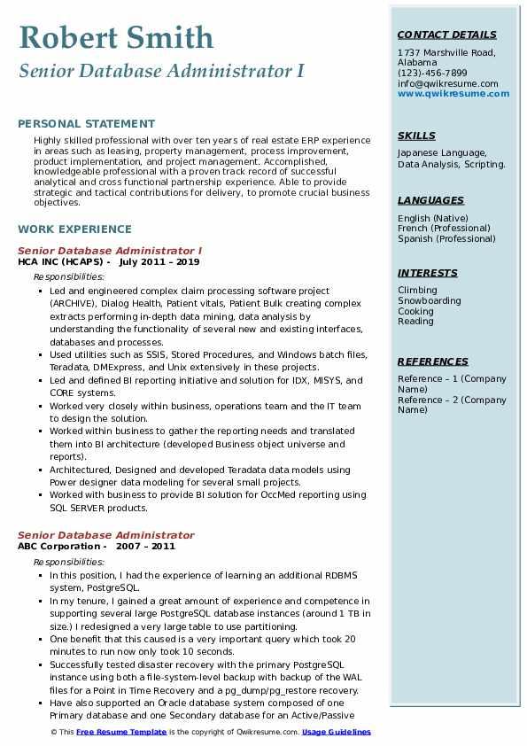 Senior Database Administrator I Resume Template