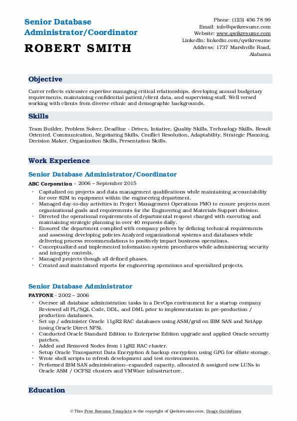 Senior Database Administrator/Coordinator Resume Template