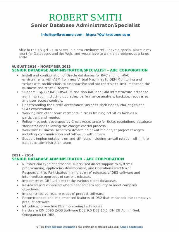 Senior Database Administrator/Specialist Resume Format