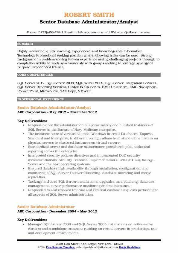 Senior Database Administrator/Analyst Resume Model