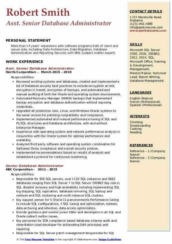 Asst. Senior Database Administrator Resume Model