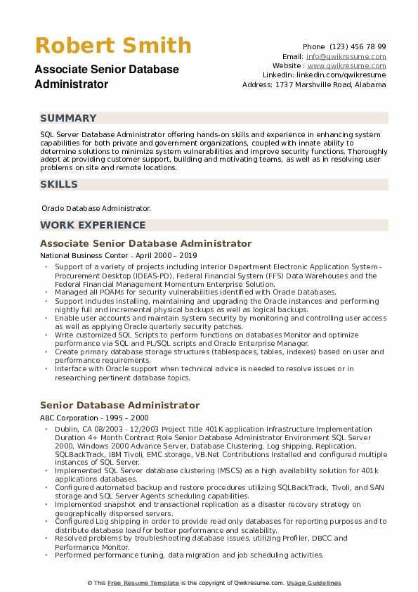 Associate Senior Database Administrator Resume Example