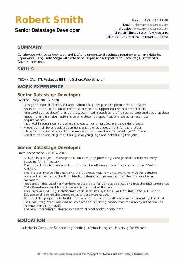 Senior Datastage Developer Resume example