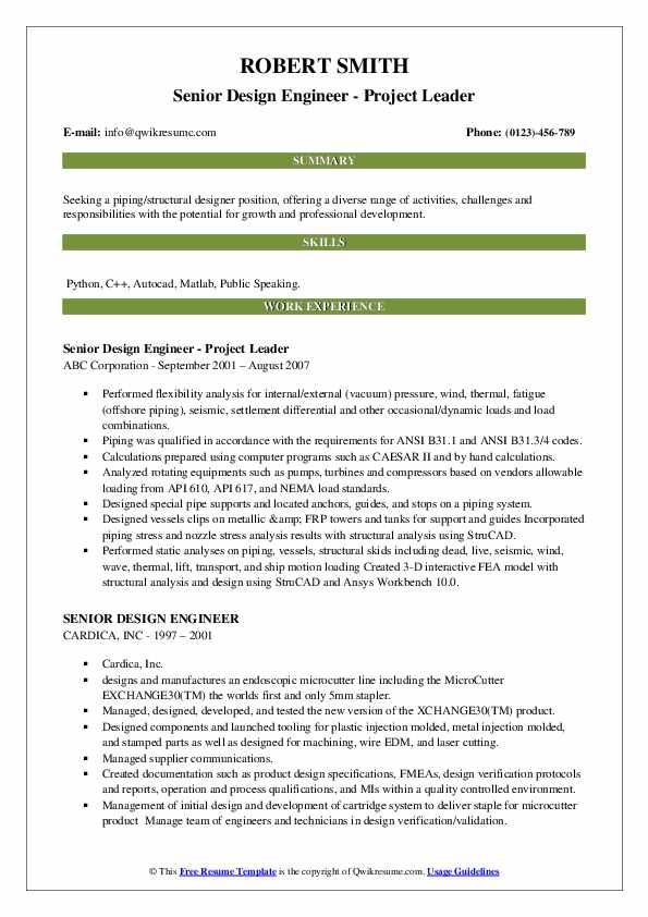 Senior Design Engineer - Project Leader Resume Example