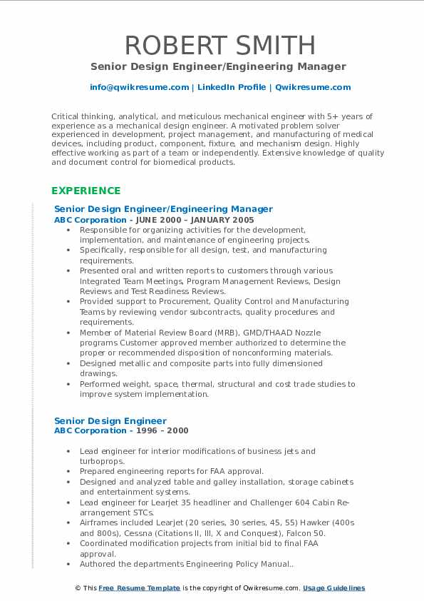 senior design engineer resume samples