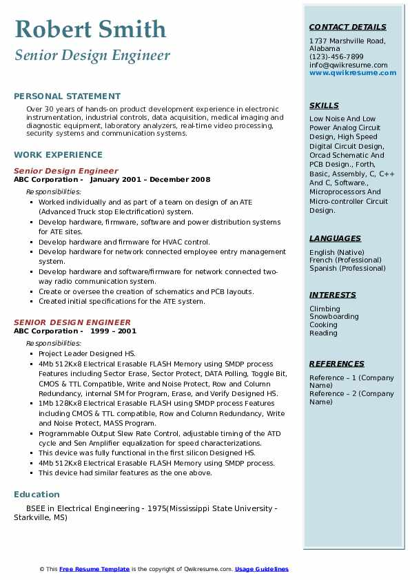 Senior Design Engineer Resume Samples Qwikresume